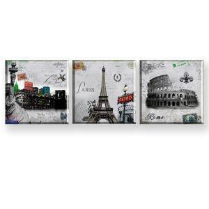 絵画 油彩画 アートパネル 装飾絵画 壁飾り 建築柄 プレゼント 3pcs 30*30cm
