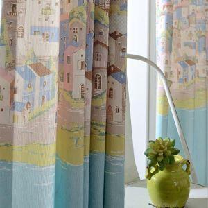 遮光カーテン オーダーカーテン 捺染 エーゲ海風景 オシャレ 3級遮光カーテン(1枚)