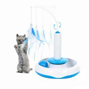 猫おもちゃ 電動玩具 猫じゃらし 自動回転 飛ぶ羽 餌やりボール 回転遊ぶ盤 3in1 多機能 ストレス解消用 運動不足対応