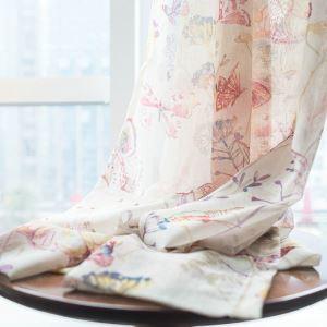 シアーカーテン オーダーカーテン レースカーテン 捺染 蝶柄 田園風(1枚)