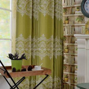 遮光カーテン オーダーカーテン 刺繍 花柄 緑色 欧米風(1枚)