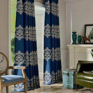 遮光カーテン オーダーカーテン 刺繍 花柄 青色 欧米風(1枚)