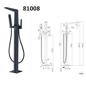 床置きシャワー水栓 床立ち上げ式浴槽蛇口 冷熱混合栓 ハンドシャワー付 黒色 HY81008