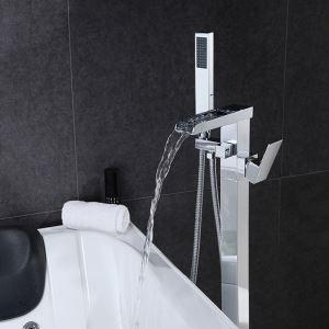 床置きシャワー水栓 床立ち上げ式浴槽蛇口 冷熱混合栓 ハンドシャワー付 クロム LDTZ0120