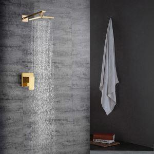 埋込形シャワー水栓 ヘッドシャワー バス水栓 混合栓 水道蛇口 金色