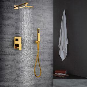 埋込形シャワー水栓 レインシャワーシステム バス水栓 ヘッドシャワー+ハンドシャワー 水道蛇口 金色