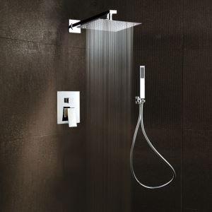 埋込形シャワー水栓 レインシャワーシステム バス水栓 ヘッドシャワー+ハンドシャワー 水道蛇口 クロム