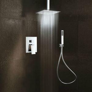 埋込形シャワー水栓 レインシャワーシステム バス水栓 ヘッドシャワー+ハンドシャワー 吊上げ式 クロム