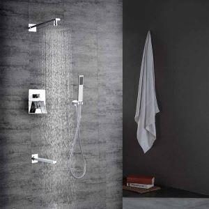 埋込形シャワー水栓 レインシャワーシステム バス水栓 ヘッドシャワー+ハンドシャワー+蛇口 クロム