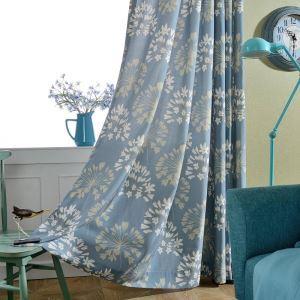 遮光カーテン オーダーカーテン 捺染 青色花柄 和風(1枚)