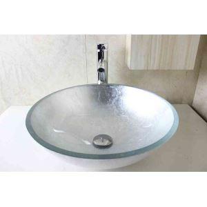 洗面ボウル 手洗器 洗面器 手洗い鉢 洗面ボール 洗面台 ガラス 排水金具付 オシャレ 灰色 D42cm SN783
