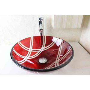 洗面ボウル 手洗器 洗面器 手洗い鉢 洗面ボール ガラス 排水金具付 オシャレ 薄赤色 SN772