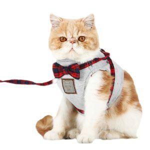 ペットハーネス 猫用ハーネス 胴輪 牽引ロープ 蝶結び 引っ張り防止 束縛感なし 調節可能