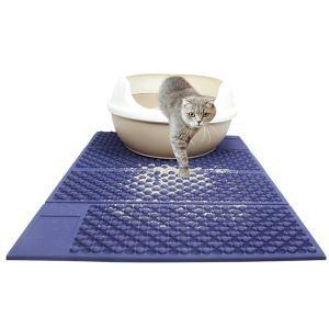猫用品 トイレマット 猫砂マット 飛び散り防止マット 滑り止めマット 防カビ防臭防水 折り畳み ブルー