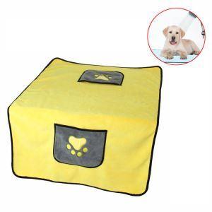 ペット用タオル シャワータオル ブランケット 吸水速乾 体拭き 清潔用品 ポケット 手を挿入可 黄色
