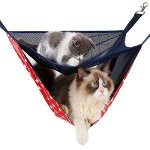 猫ハンモック 二層 猫ベッド 二匹用 吊り下げ 吊り床 メッシュ 通気性 夏用