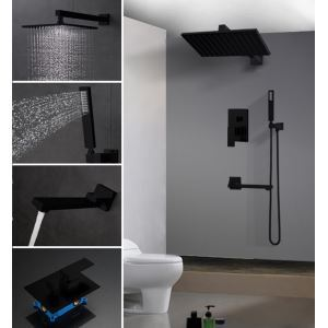 埋込形シャワー水栓 レインシャワーシステム バス水栓 ヘッドシャワー+ハンドシャワー+蛇口 黒色