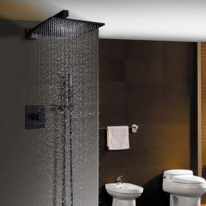 埋込形シャワー水栓 レインシャワーシステム バス水栓 ヘッドシャワー+ハンドシャワー 水道蛇口 黒色