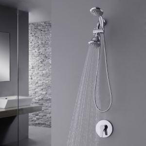 埋込形シャワー水栓 レインシャワーシステム ヘッドシャワー+ハンドシャワー バス水栓 混合栓 水道蛇口 クロム