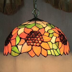 ティファニーライト ペンダントライト ステンドグラスランプ 照明器具 欧米風 ひまわり 2灯