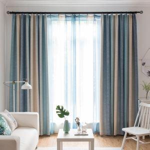 遮光カーテン オーダーカーテン 捺染 対照縦縞柄 現代風(1枚)
