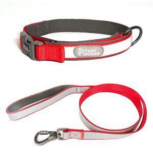ペット首輪 ペットリード 2点セット 反射テープ 引っ張り防止 調節可能 お散歩 お出かけ レッド