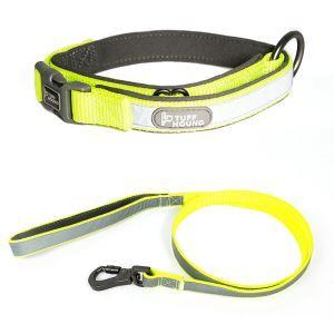 ペット首輪 ペットリード 2点セット 反射テープ 引っ張り防止 調節可能 お散歩 お出かけ グリーン