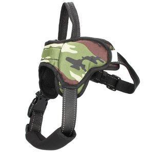 犬用ハーネス ペット胴輪 急き込み軽減 引っ張り防止 束縛感なし 調節可能 小中大型犬 散歩 訓練 軽便 迷彩柄 グリーン