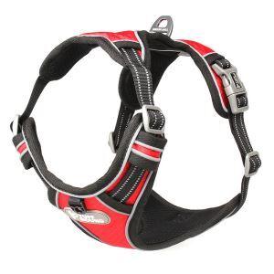 犬用ハーネス ペット胴輪 反射ハーネス 引っ張り防止 急き込み軽減 調節可能 小中大型犬 散歩 訓練 レッド