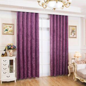 遮光カーテン オーダーカーテン シェニール 無地柄 紫色 米式(1枚)