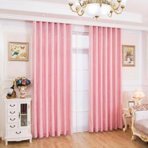 遮光カーテン オーダーカーテン UVカット シェニール 無地柄 ピンク 田園風 3級遮光カーテン(1枚)