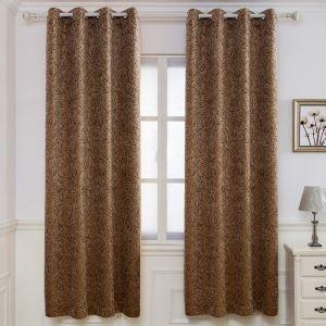 遮光カーテン オーダーカーテン ジャカード シェニール 厚地 枝柄 米式 3級遮光カーテン(1枚)