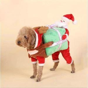 ペット服 サンタクロース服 クリスマス 犬猫 変身服 カボチャを運ぶ 可愛い コスプレ 秋冬服 面白い コスチューム