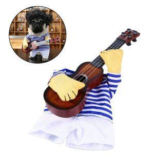 ペット服 ギター服 仮装 犬猫 変身服 人気 可愛い コスプレ 胸プロテクター 春夏服 面白い コスチューム