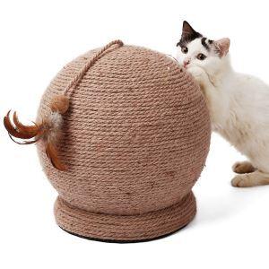 猫タワー 爪とぎおもちゃ ボウル 麻紐 羽付き おもちゃ付き ストレス解消
