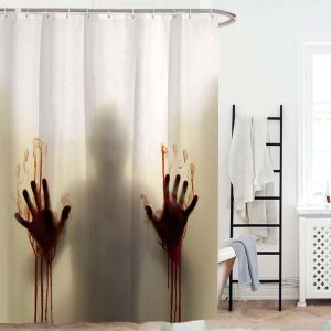 シャワーカーテン バスカーテン 防水防カビ プリント オシャレ 浴室 お風呂 リング付 血手形 ハロウィン 1枚