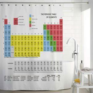 シャワーカーテン バスカーテン 防水防カビ プリント オシャレ 浴室 お風呂 リング付 周期表柄 1枚