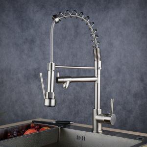 キッチン蛇口 冷熱混合栓 台所蛇口 シンク用水栓 水道蛇口 整流&シャワー吐水式 ヘアライン BL0783SN