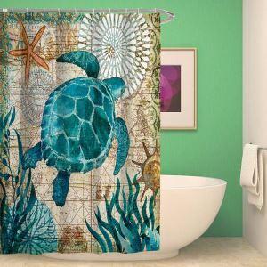 シャワーカーテン バスカーテン 防水防カビ プリント オシャレ 浴室 お風呂 リング付 深洋動物柄 3D立体 1枚