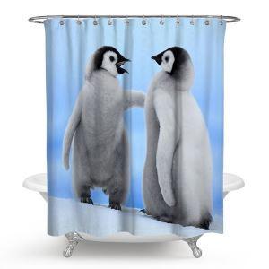 シャワーカーテン バスカーテン 防水防カビ プリント オシャレ 浴室 お風呂 リング付 ペンギン柄 3D立体 1枚