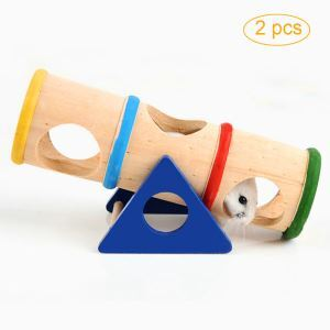 ハムスターおもちゃ くり抜きトンネル トンネルシーソー 木製 小動物用 遊び場 ゲージ内装 2個入り