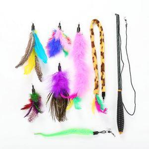 猫のおもちゃ 猫じゃらし 鳥の羽 棒 鈴付き 羽のおもちゃ 羽根 釣り竿 セット 8個入り