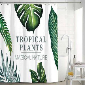 シャワーカーテン バスカーテン 防水防カビ プリント オシャレ 浴室 お風呂 リング付 バショウ葉柄 1枚