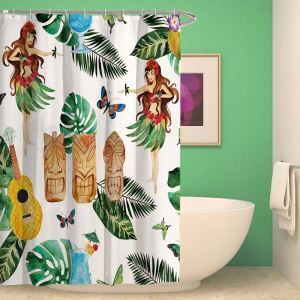 シャワーカーテン バスカーテン 防水防カビ プリント オシャレ 浴室 お風呂 リング付 熱帯風土人情柄 1枚