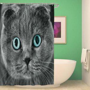 シャワーカーテン バスカーテン 防水防カビ プリント オシャレ 浴室 お風呂 リング付 猫柄 3D立体 1枚