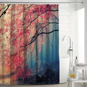 シャワーカーテン バスカーテン 防水防カビ プリント オシャレ 浴室 お風呂 リング付 風景柄 3D立体 1枚
