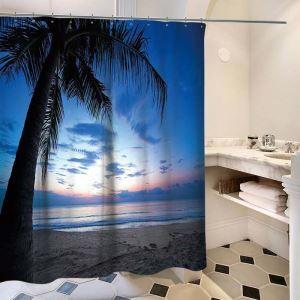 シャワーカーテン バスカーテン 防水防カビ プリント オシャレ 浴室 お風呂 リング付 ココヤシ柄 3D立体 1枚