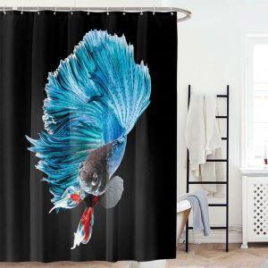 シャワーカーテン バスカーテン 防水防カビ プリント オシャレ 浴室 お風呂 リング付 金魚柄 3D立体 1枚