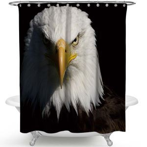 シャワーカーテン バスカーテン 防水防カビ プリント オシャレ 浴室 お風呂 リング付 鷹柄 3D立体 1枚