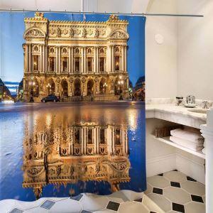 シャワーカーテン バスカーテン 防水防カビ プリント オシャレ 浴室 お風呂 リング付 エジプト柄 3D立体 1枚
